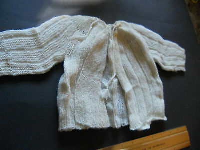 Vintage Infant handmade sweater Ivory delicate lovely doll or baby clothes