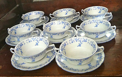 Set of 8 Cream Soup Bowls and Saucers Plates - KPM Furstenstein, Germany