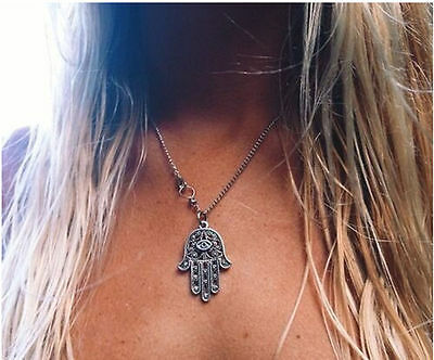 Hamsa Fatima Protection From the Evil Eye Silver Talisman Luck Pendant Necklace
