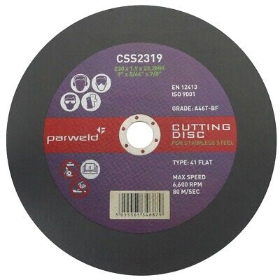 """(PACK OF 4) Parweld (9"""") 230mm x 1.9mm Thin stainless steel metal cutting discs"""