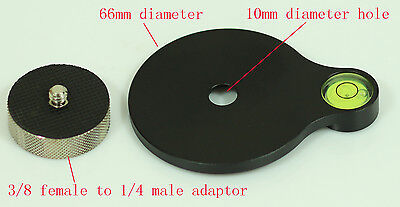 """New Bubble Level Plate with 3/8"""" female  to 1/4""""  male adaptor for tripod & head"""