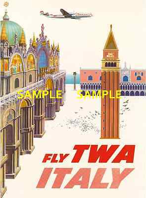 """TWA ----- Jets Airline 8.5/"""" x 11/""""Travel Poster - EGYPT -"""