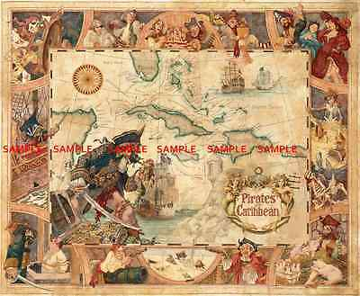 """Disney Pirates Of The Caribbean Map 8.5"""" X 11""""  Poster  Free Poster for 2or More"""
