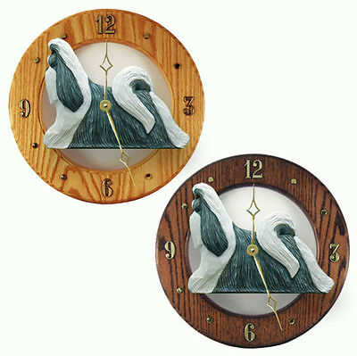 Shih Tzu Wood Wall Clock Plaque Silv/Wht