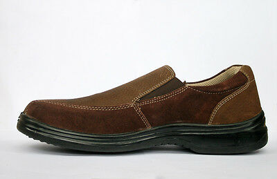 New Mens Leather Brown Casual slip on shoes Size 7/41