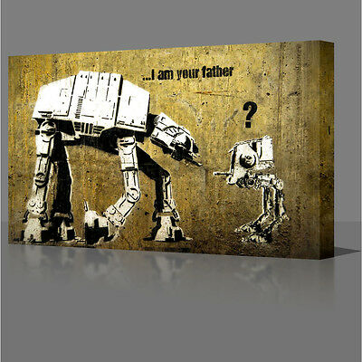 """LARGE 16x12"""" I Am Your Father Graffiti Canvas Wall Art Picture Star Wars Style"""