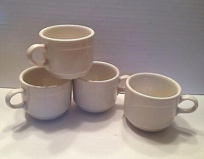 Syracuse China Restaurant Ware White 8 oz Cups Set of 4 - Stackable EUC!