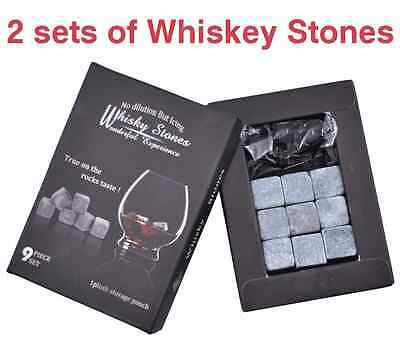 2 SETS of 9 x Whiskey Stones in 3 colours Replace Ice with Soapstone Rocks Cubes