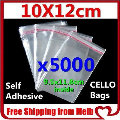 5000x Cello Bag 10x12cm Cellophane Clear Resealable Plastic Self Seal Adhesive