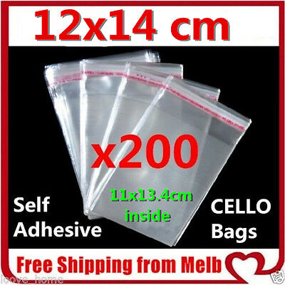 200 x Cello Bag 120x140mm Cellophane Clear Resealable Plastic Self Seal Adhesive