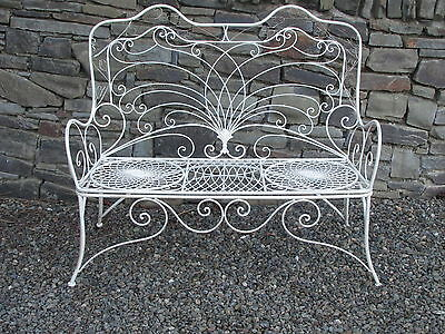 Cream aged effect light metal bench - Jason design