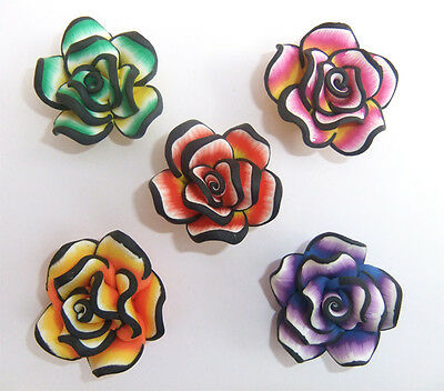 5 x Large Polymer Clay Rose in Mixed Colours - 35mm x 15mm