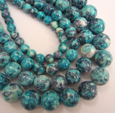 """Jade round dyed ocean blue beads. 15.5"""" strand. Choose size 6 - 12mm SP36"""