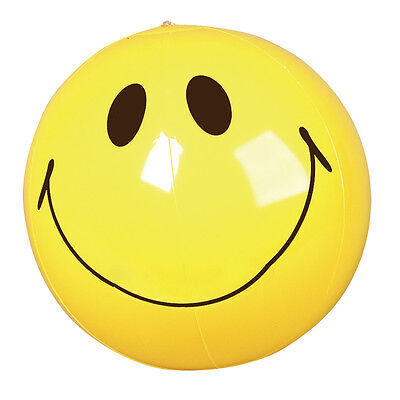 """NEW INFLATABLE BLOW UP NOVELTY SMILE SMILING FACE BEACH BALL YELLOW HEAD 16"""""""