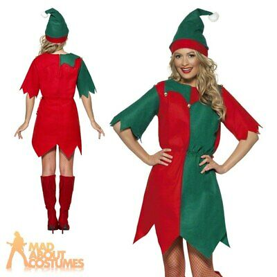Adult Elf Costume Ladies Christmas Fancy Dress Womens Outfit New UK 8 - 22
