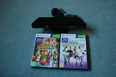 Official Xbox 360 Kinect Sensor Black & Games - Kinect Sports & Adventures -