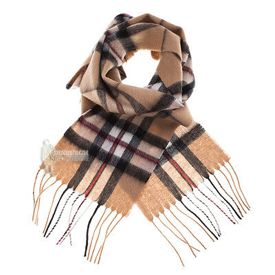 Edinburgh - 100% Lambswool Tartan Mini Scarf - Thomson Camel