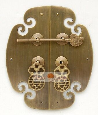 Furniture Brass Hardware Cabinet Face Plate Copper w/ Locking Pin Handle 6.9""