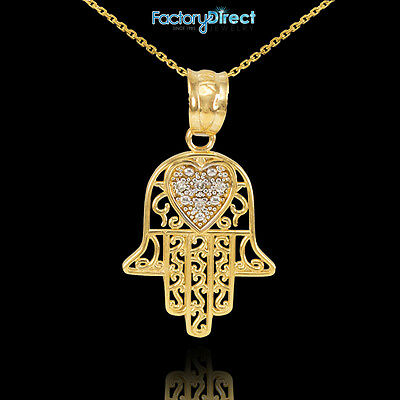 14k Gold Diamond Filigree Hamsa Pendant Necklace