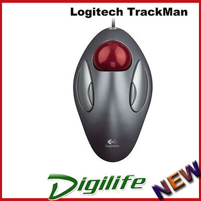 Logitech Trackman Marble Trackball Optical USB Mouse PC Mac Laptop Both Hands