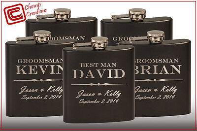 Groomsmen gift - 7 personalized hip flasks - custom wedding party bridesmaid