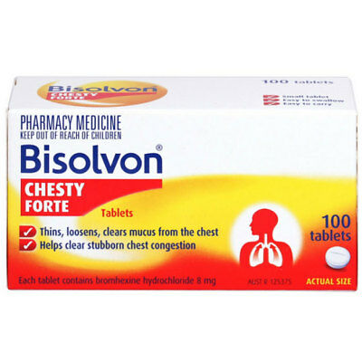 ツ Bisolvon Chesty Forte 100 Tablets Chest Congestion & Mucus Relief
