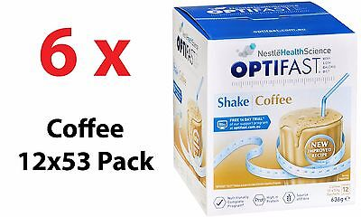 CHEAPEST! 6 X OPTIFAST VLCD SHAKE COFFEE SACHETS 54G x 12 PACK = TOTAL 72 PACKS