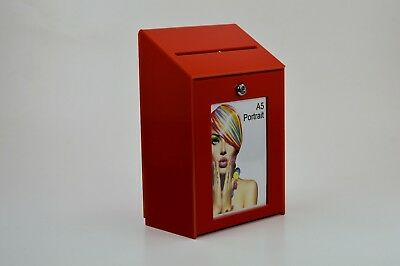 Collection Box / Suggestion Box - Red Acrylic - Lockable - PDS9463 Red