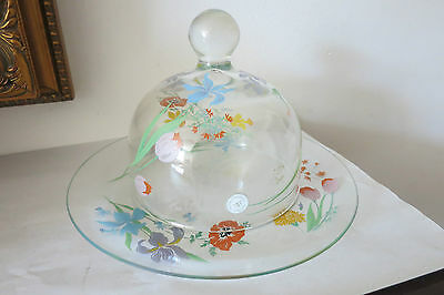 VINTAGE DOROTHY C. THORPE GLASS PAINTED FLOWERS COVERED BUTTER DISH *RARE*