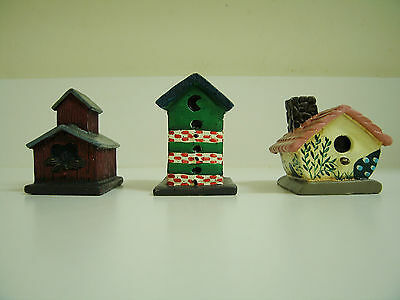 Set of (3) Dianna Marcum Resin Cottage Country Birdhouse Figurines