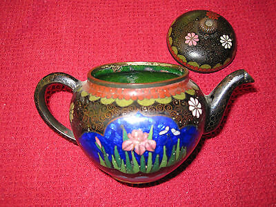 Antique Meiji Japanese Miniature Foil Cloisonne Teapot With Lotus Flowers