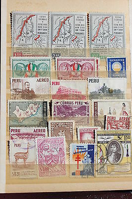Collection of used postal stamps, Peru, Chile, Colombia, Mexico, Argentina