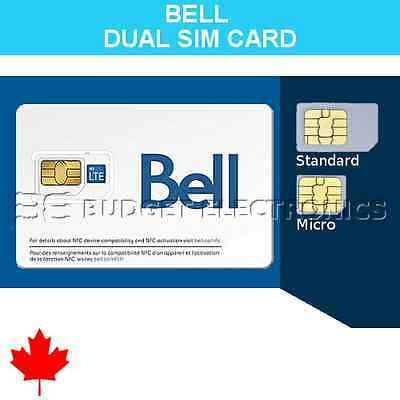 Dual Combo Bell Mobility (Canada) SIM Card - Micro and Regular Sized