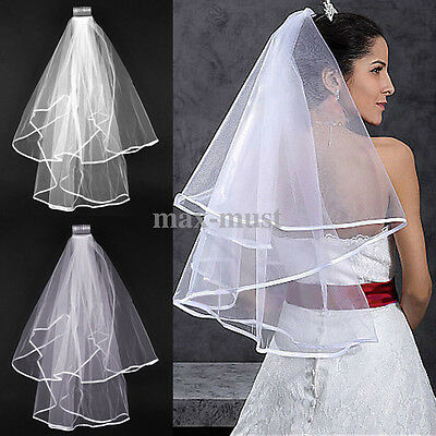 Beautiful White 2T Wedding Accessory Bridal Elbow Satin Edge Veil With Comb New