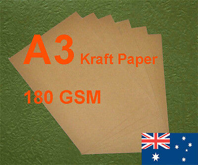 200 X A3 Kraft Paper Brown 180GSM All Wood Pulp Made