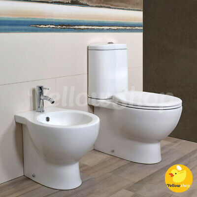 sanitari bagno ceramica filo muro a terra vaso wc coprivaso e bidet genesis eur 120 00. Black Bedroom Furniture Sets. Home Design Ideas