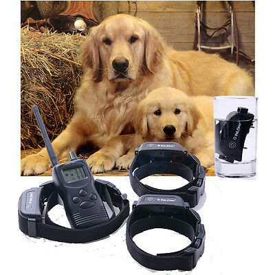 Rechargeable Waterproof LCD 100LV Level Shock Vibra Remote 3 Dog Training Collar