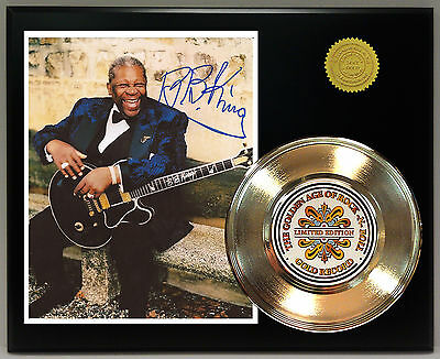 BB King - 24k Gold Record & Reprinted Autographed Photo - USA Ships Free