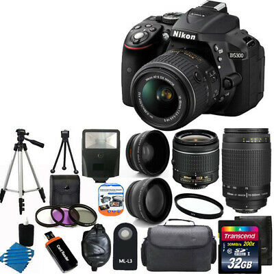 NEW Nikon D5300 Digital SLR Camera +4 Lens 18-55mm VR 70-300 +32GB Complete Kit!