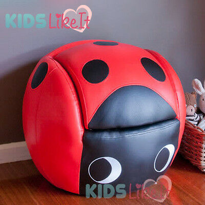 NEW KIDS TODDLERS Faux LEATHER Black Red LADYBUG BALL SOFA ARM CHAIR FOOTSTOOL