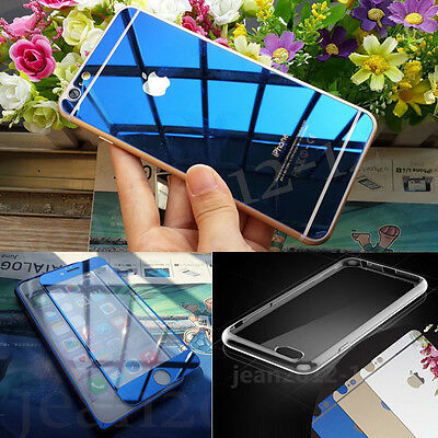 Front+ Back Mirror Effect Colour Tempered Glass Screen Protector+Free Case Cover
