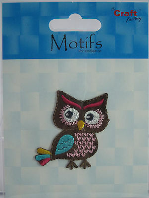 The Craft Factory Applique  Motif Iron on/Sew On - Colourful Owl