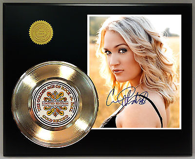 Carrie Underwood - 24k Gold Record & Autograph Reprint Photo - USA Ships Free