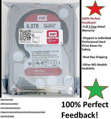 """WD RED WD60EFRX RED 6TB NAS 64MB cache SATA 6.0Gb/s 3.5"""" Properly Shipped! NIB"""