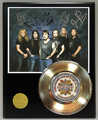 Iron Maiden - 24k Gold Record Reprinted Autograph & Photo - USA Ships Free