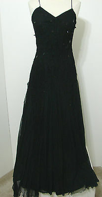 Vintage Black Spaghetti Strap Bias Cut Mesh Net Lace Overlay Decorated Gown S