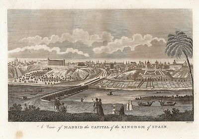 Antique map, A view of Madrid the Capital of the Kingdom of Spain