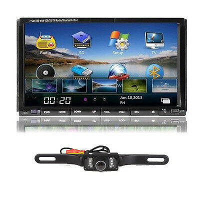 "7"" LCD Touch Screen 2 DIN Car DVD Player Bluetooth Stereo iPod TV Radio+Camera"
