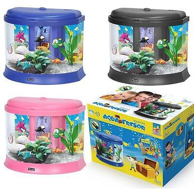 Kids / Childrens Aquarium Small Fish Tank with Money Box! Black Blue Pink - 20L