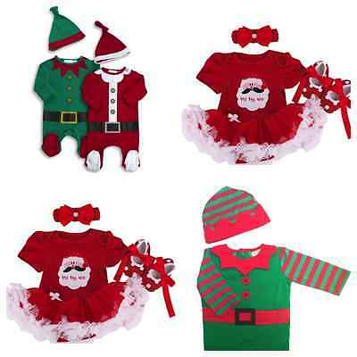 BABYS FIRST 1st CHRISTMAS OUTFIT Baby Girls Santa Tutu Party Costume | Elf Suit